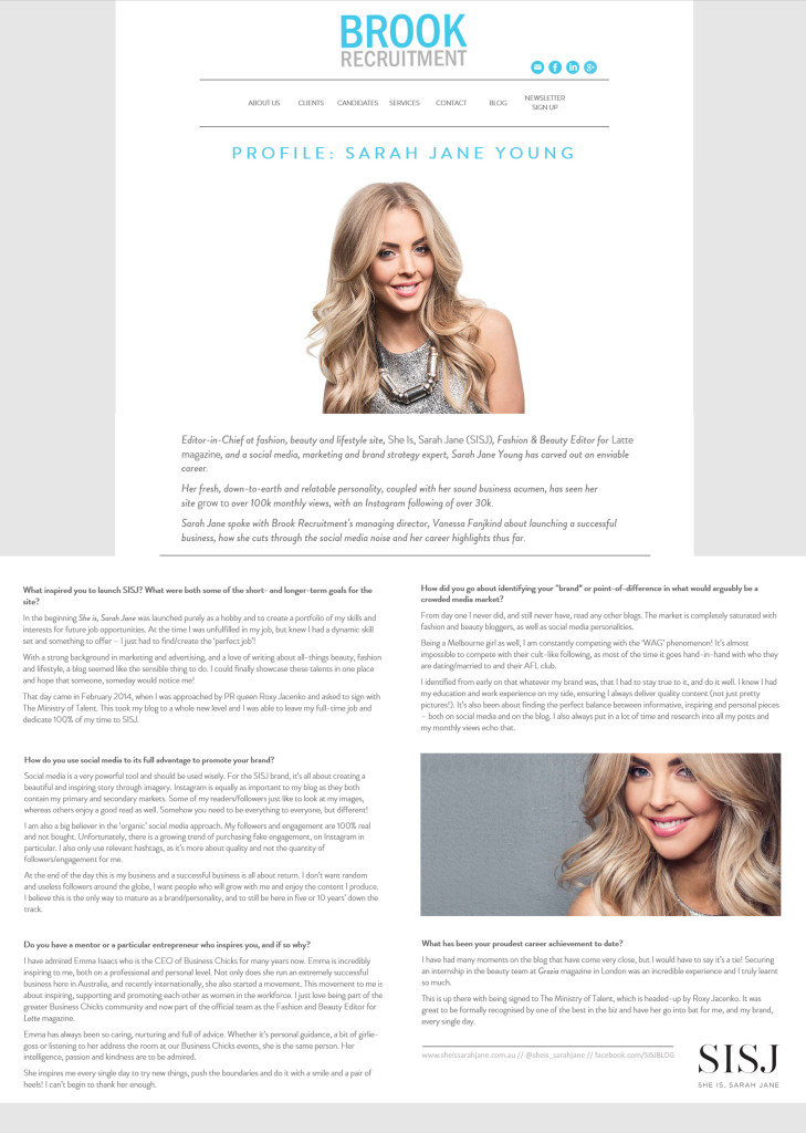 BROOK RECRUITMENT, SARAH JANE YOUNG, SHEISSARAHJANE, FASHION BLOGGER, MELBOURNE BLOGGER, THE MINISTRY OF TALENT, EMMA ISAACS, BUSINESS CHICKS, LATTE MAGAZINE, ROXY JACENKO