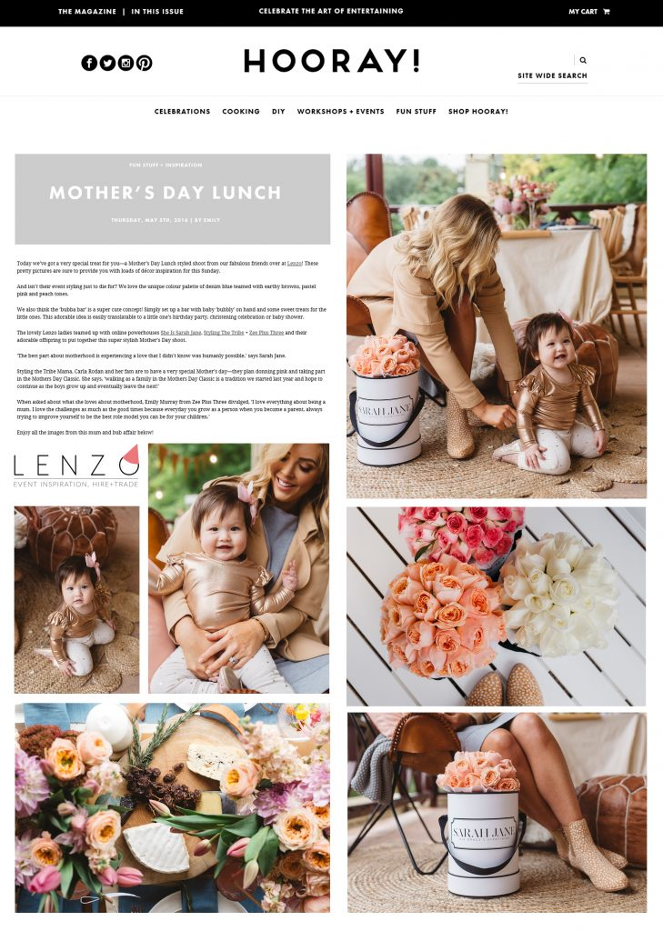 SARAH JANE YOUNG, LENZO, PARTY WITH LENZO, HOORAY, HOORAY MAGAZINE, MOTHER'S DAY, SISJ PRESS, SHEISSARAHJANE, MUMMY BLOGGER,