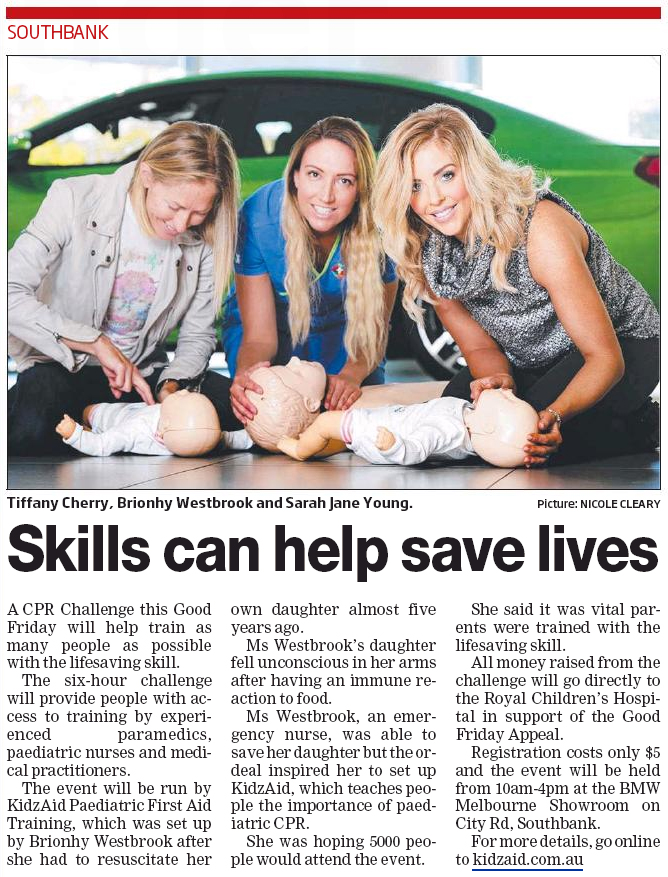 CPR Challenge 2016, Kidz Aid Australia, Good Friday Appeal 2016, Sarah Jane Young, Melbourne Leader, Tiffany Cherry