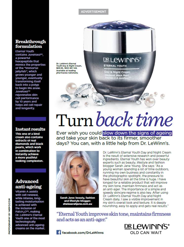 Beauty Blogger,beauty editor,Dr Lewinn's ambassador,Dr Lewinn's,Fashion Blogger,In Style magazine,Lifestyle Blogger,Marie Claire magazine,Sarah Jane Young,sheissarahjane,skincare,The Ministry of Talent,Who magazine,Women's Health magazine, Dr Lewinn's skincare, Eternal Youth Day & Night Cream