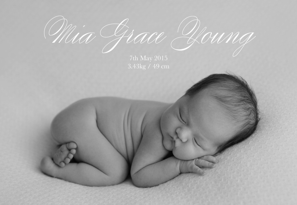 MIA GRACE YOUNG - BIRTH ANNOUCEMENT