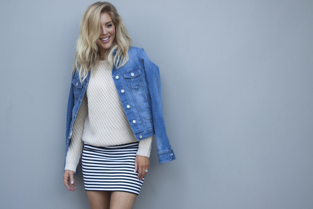 SARAH JANE YOUNG, SHEISSARAHJANE, MUMMY BLOGGER, FASHION BLOGGER, WEEKEND AWAY STYLING, AUTUMN STYLING, CABLE KNIT, STRIPE PONTE SKIRT, COLES, MIX APPAREL, DENIM JACKET, SISJ